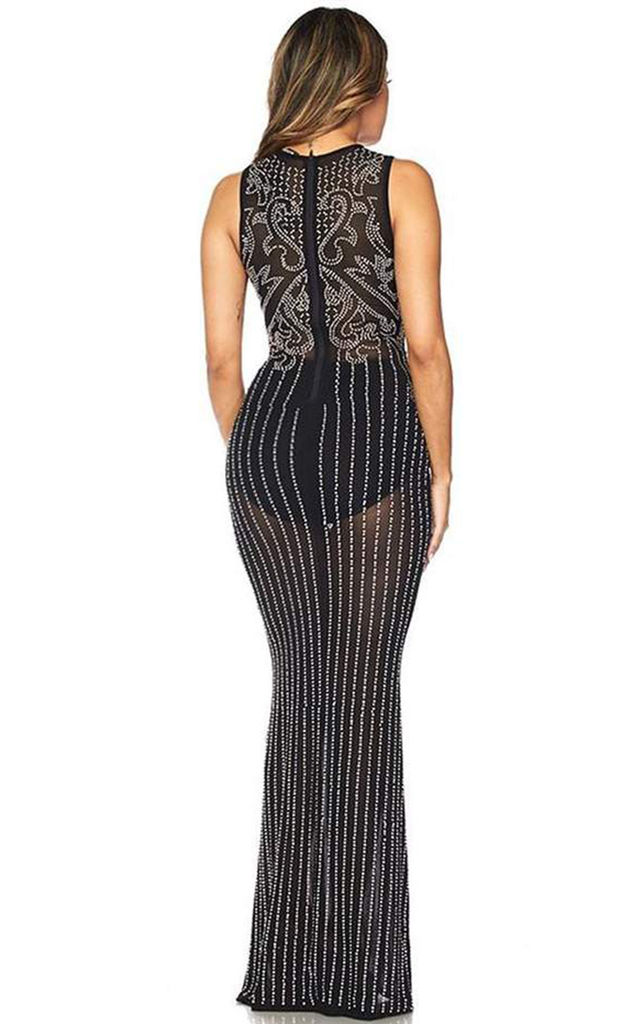 Luxuo Black & White Pearls Heavy Embroidery Maxi Dress by HOUSE OF MAGUIE