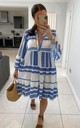 Blue & White Aztec Smock V Neck Ruffle Mini Dress by GIGILAND UK