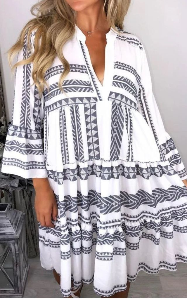Grey & White Aztec Smock V Neck Ruffle Mini Dress by GIGILAND UK