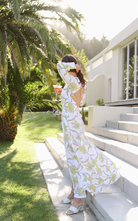White & Pastel Floral Print Maxi Dress by Island Threads