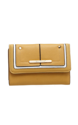 TWO TONE FLAP-OVER PURSE YELLOW by BESSIE LONDON