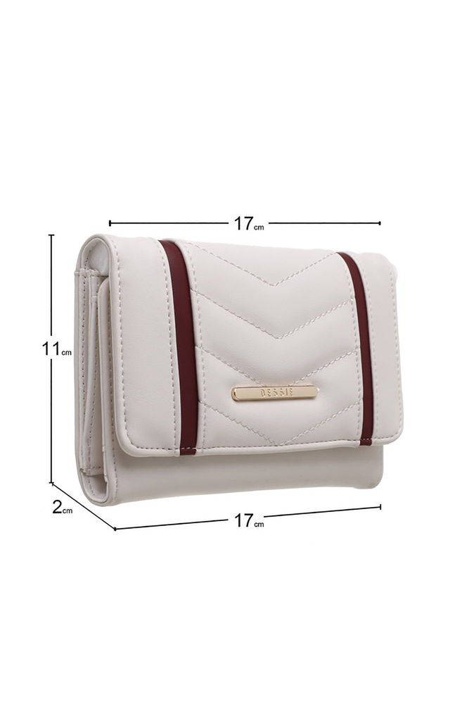 QUILTED TWO TONE FLAP-OVER PURSE by BESSIE LONDON