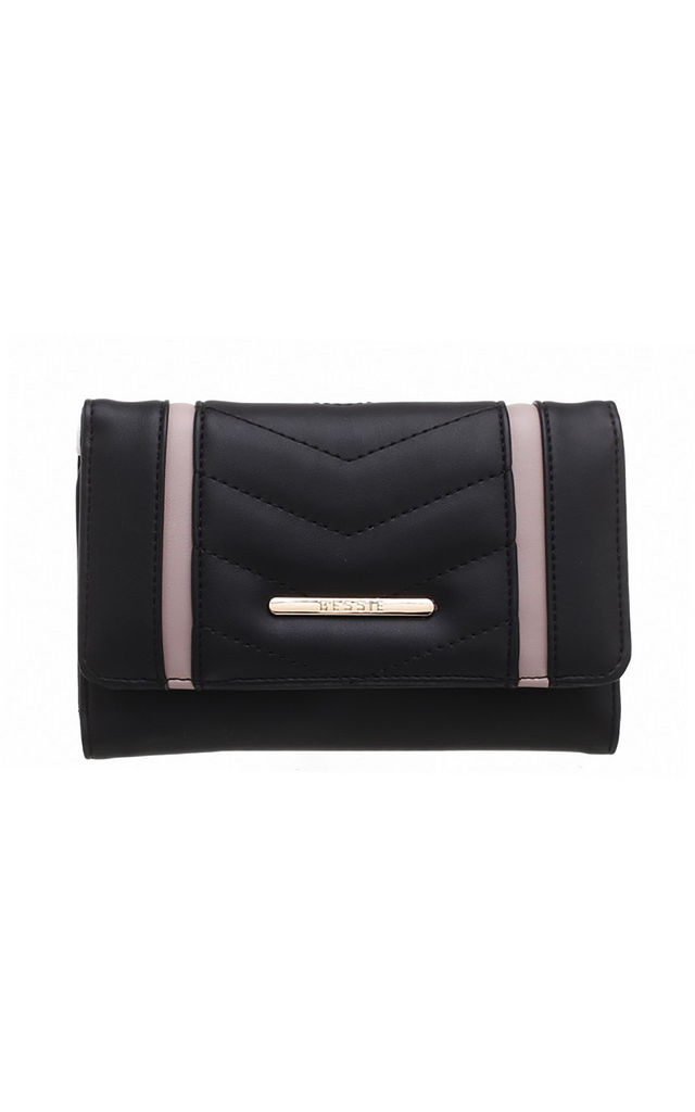 QUILTED TWO TONE FLAP-OVER PURSE BLACK by BESSIE LONDON