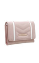 QUILTED TWO TONE FLAP-OVER PURSE PINK by BESSIE LONDON