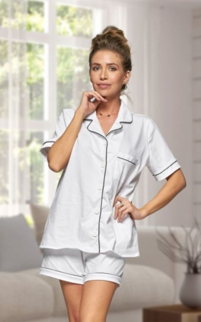 White Cotton Summer Pyjama Set by BB Lingerie