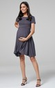 Maternity & Nursing Swing Dress in Graphite with Dots by Chelsea Clark