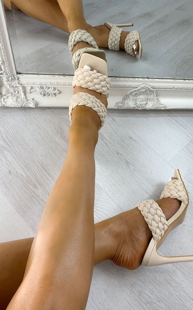 Teegan Braided Mule Heels in Nude by IKRUSH