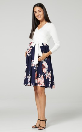 Women's Maternity Nursing Pattern Skater Tied Waist Dress White & Flowers by Chelsea Clark