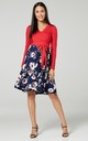 Women's Maternity Nursing Pattern Skater Tied Waist Dress Red & Navy Flowers by Chelsea Clark