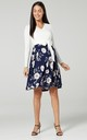 Women's Maternity Nursing Pattern Skater Tied Waist Dress White & Navy Flowers by Chelsea Clark