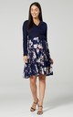Women's Maternity Nursing Tied Waist Midi Dress Navy Flowers by Chelsea Clark