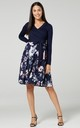 Women's Maternity Nursing Tied Waist Midi Dress Navy and Flowers Long Sleeves by Chelsea Clark