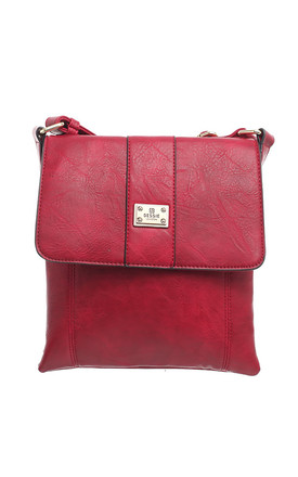 Two-Pocket Bessie Shoulder-Bag RED by BESSIE LONDON