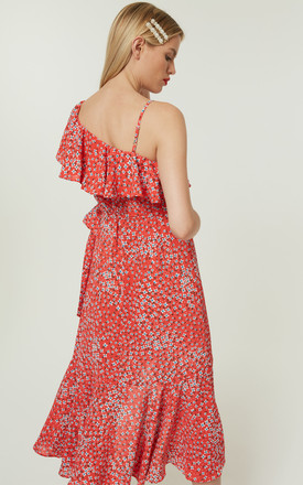 Zaida2 Dress Asymmetric Wrap Red Floral by Jovonna London