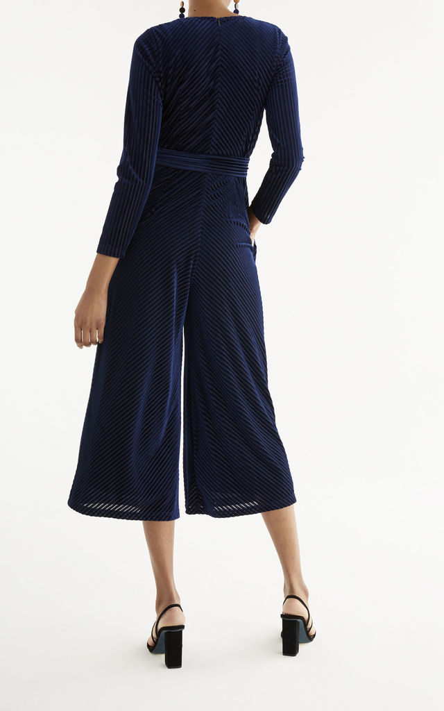 London Striped Velvet Jumpsuit in Navy by Paisie