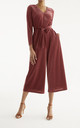 London Striped Velvet Jumpsuit in Berry by Paisie