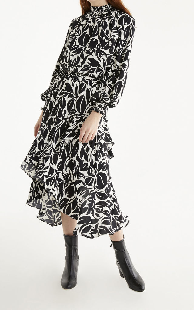 Leigh Print Frill Skirt in Black & White by Paisie
