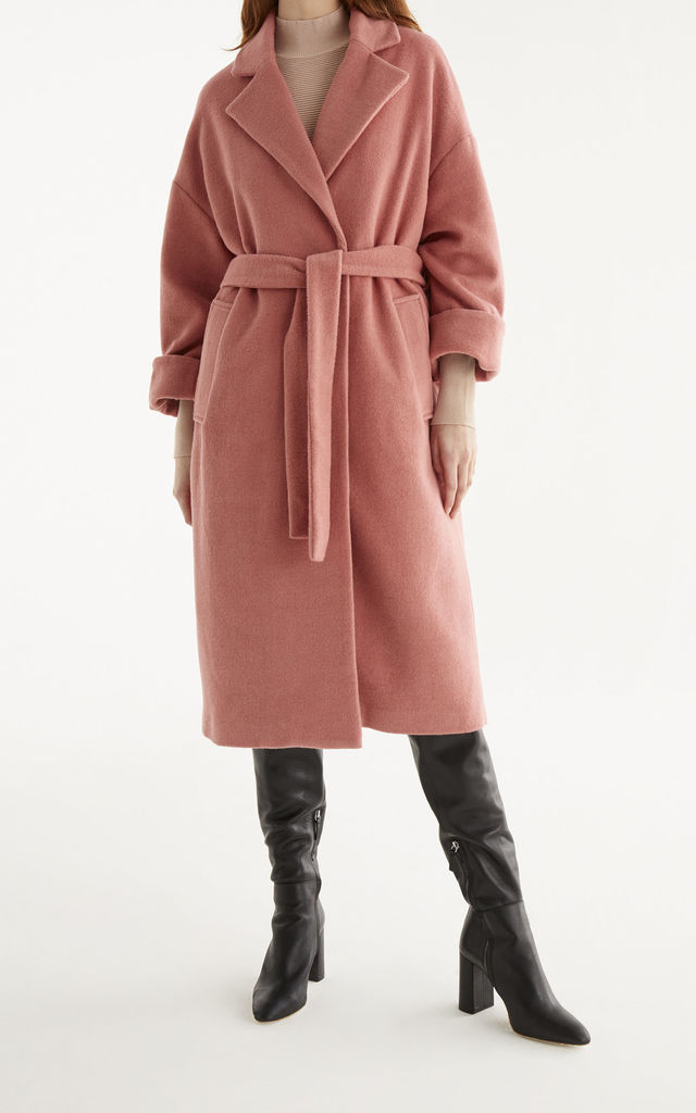 Maple Wool Blend Coat in Pink by Paisie