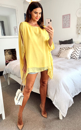 Oversized Top with sequin embellishement in mustard by LOES House