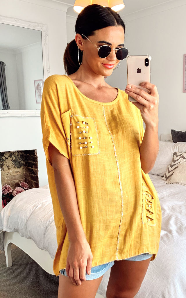 Oversized linen style top with pearl detail in mustard by LOES House