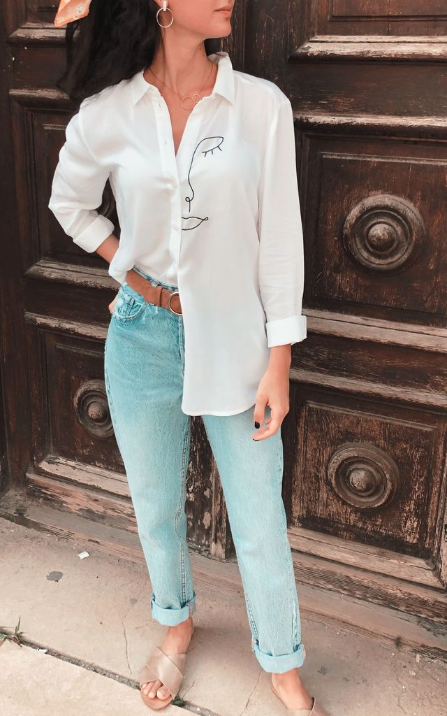Embroidered Line Sleeping Beauty Blouse by Mahi Chic