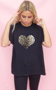Monochrome Leopard Print Heart Tshirt  In Black by Sade Farrell