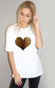 Leopard Heart Tshirt in White by Sade Farrell