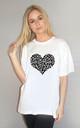 Grey and Black Leopard Heart Tshirt in White by Sade Farrell