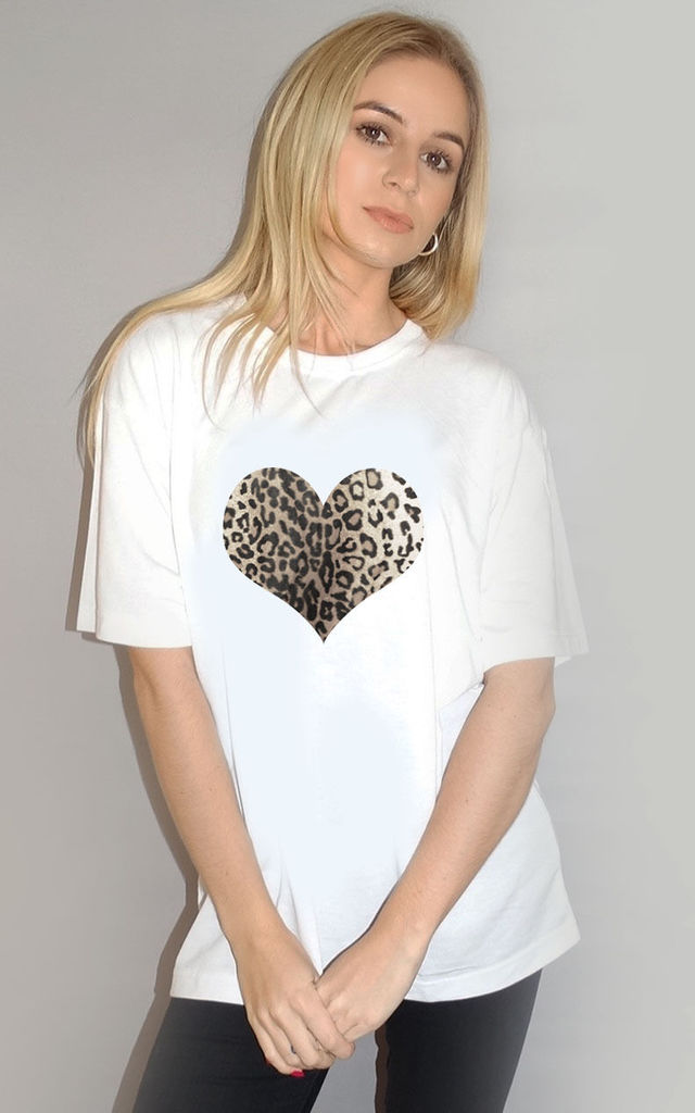 Monochrome Leopard Heart Tshirt in White by Sade Farrell