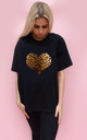 Leopard Print Heart Tshirt Top  In Black by Sade Farrell