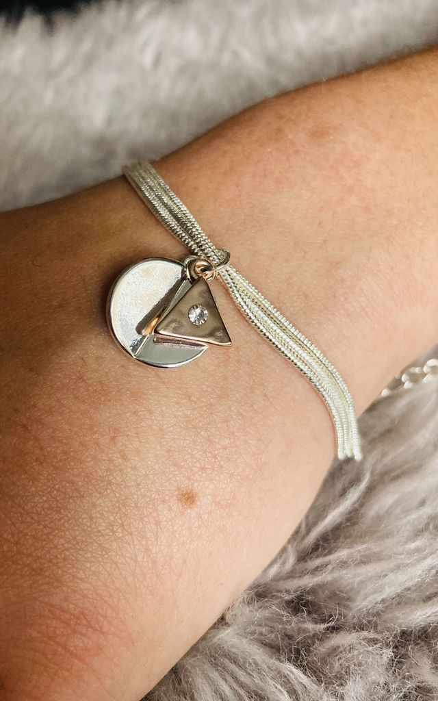 Two Tone Circle & Triangle Charm Bracelet by Pink Lemonade Boutique