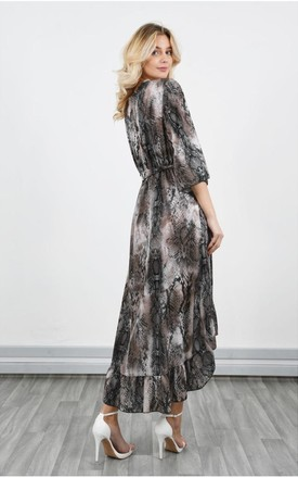Snake Print Chiffon Wrap Maxi Dress in Brown by LOES House