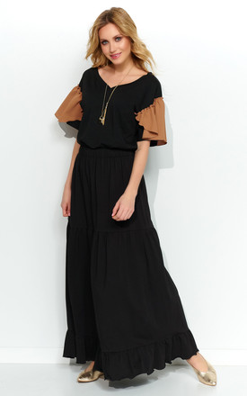 Loose Maxi Skirt with Frills in Black by Makadamia