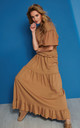 Loose Maxi Skirt with Frills in Brown by Makadamia