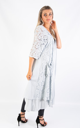 LONG COTTON CARDIGAN (GREY) by Lucy Sparks