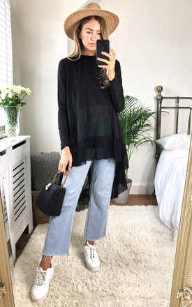 Black Oversized Top With Ruffle Hem by Bella and Blue Product photo