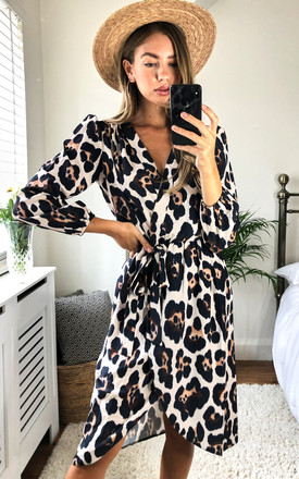Leopard Print Long Sleeve Wrap Dress by Love Product photo