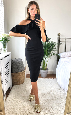 Holly Halterneck Frill Cold Shoulder Midi Dress Black by Girl In Mind Product photo
