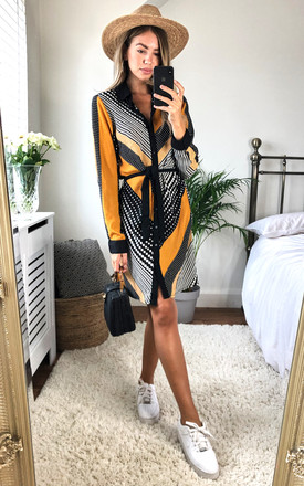 Flora Dip Hem Shirt Dress Yellow Print by Girl In Mind Product photo