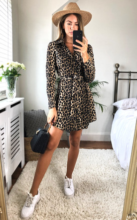 Leopard Print Shirt Dress by MISSI LONDON Product photo