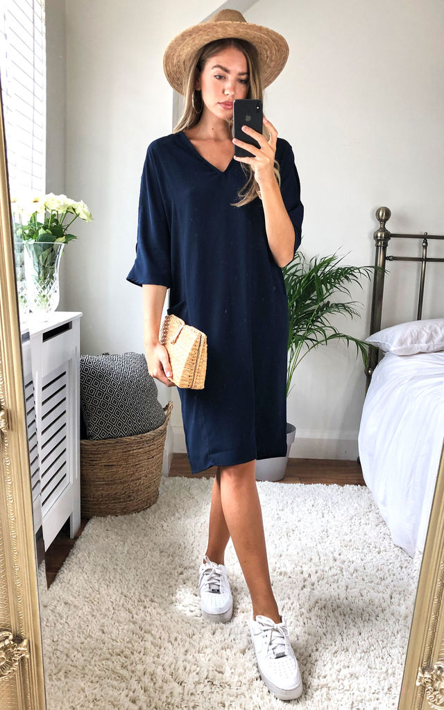Navy Relaxed Fit Split Sleeve Midi Dress by DIVINE GRACE