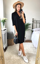 Black Relaxed Fit Split Sleeve Midi Dress by DIVINE GRACE