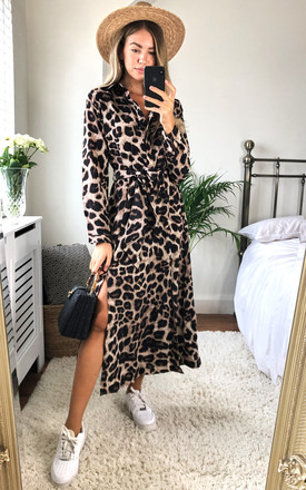 Long Sleeve Maxi Shirt Dress In Leopard Print by AX Paris Product photo