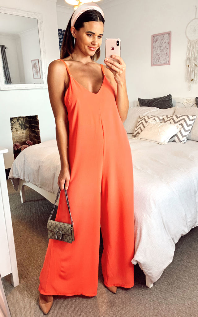 Sleeveless Culotte Jumpsuit in Orange by HOXTON GAL