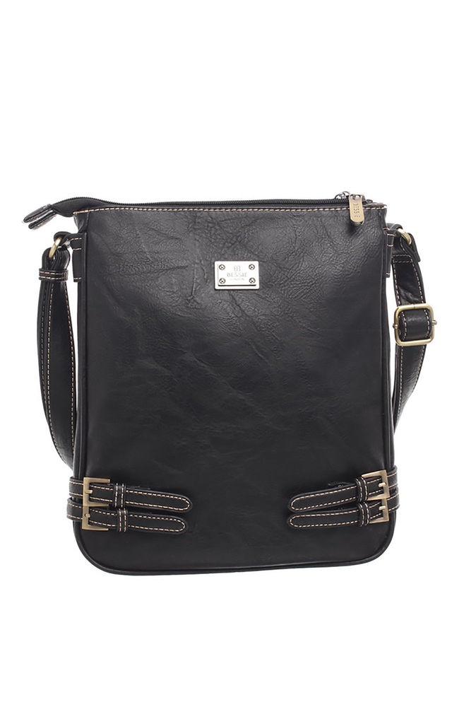 CLASSIC BUCKLE ZIPPER BAG BLACK by BESSIE LONDON