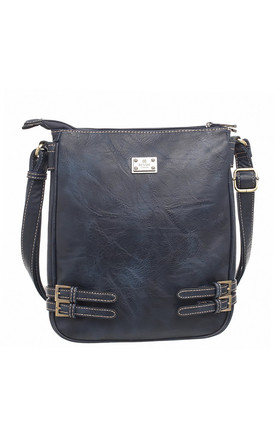 CLASSIC BUCKLE ZIPPER BAG NAVY by BESSIE LONDON