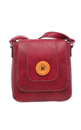 CLASSIC FLAP OVER WOODEN BUTTON CROSS BODY BAG RED by BESSIE LONDON