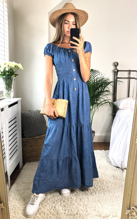 Denim Bardot Maxi Dress by KURT MULLER Product photo