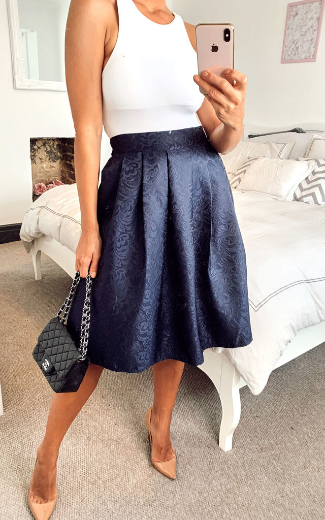 Jacquard Flare Skirt With Box Pleat navy by Shikha London