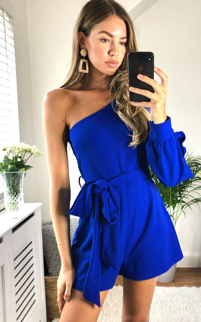 Nara Asymmetric One Sleeve Playsuit Cobalt by Girl In Mind